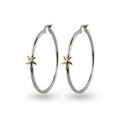 Sterling Silver Gold Starfish Hoop Earrings