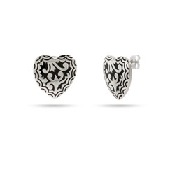 Stainless Steel Bali Style Black Enamel Heart Earrings