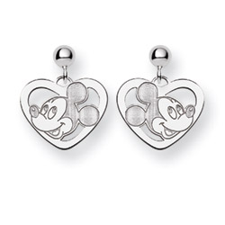 Sterling Silver Mickey mouse Heart Drop Earrings Disney Jewelry