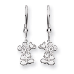 Sterling Silver Mickey Mouse Dangle Earrings - Officially Licensed Disney Jewelry