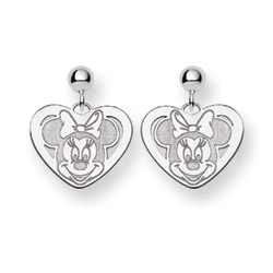 Sterling Silver Minnie Mouse Heart Drop Earrings - Officially Licensed Disney Jewelry