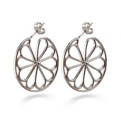 Tiffany Inspired Sterling Silver Flower Hoop Earrings