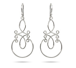 Sterling Silver Scroll Design Dangle Earrings