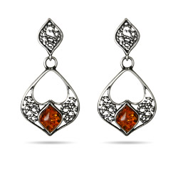 Genuine Baltic Amber Floral Marquise Drop Earrings