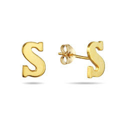 Gold Vermeil Initial Stud Earrings