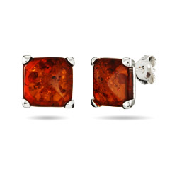 10mm Sterling Silver Princess Cut Honey Amber Stud Earrings