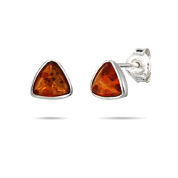 Triangle Cut Sterling Silver Amber Stud Earrings