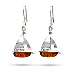 Sterling Silver Baltic Amber Sailboat Earrings