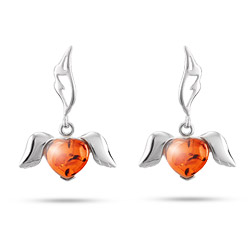 Genuine Baltic Amber Sterling Silver Winged Heart Earrings