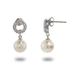 Pave CZ Circle Pearl Drop Earrings