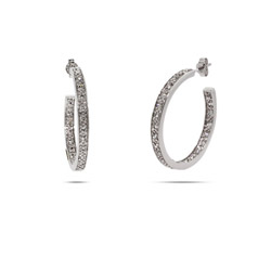 Lindsay Lohan Inspired Diamond CZ Sterling Silver Hoop Earrings