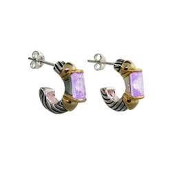 Designer Inspired Cable Hoop Earrings with Lavender Cubic Zirconias