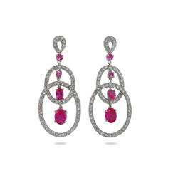 Oval Raspberry Drop CZ Sterling Silver Earrings