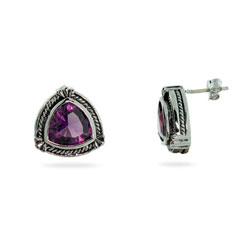 Designer Style Sterling Silver Triangular Amethyst CZ Earrings