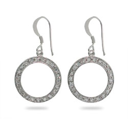 Pave O Circle Dangle Earrings in Sterling Silver