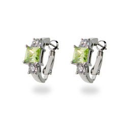 Sterling Silver Peridot & White CZ Huggies