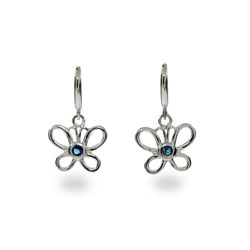 Tiffany Inspired Sapphire Butterfly Earrings