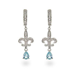 Blue CZ Stering Silver Fleur de Lis Earrings