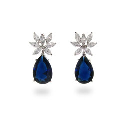 Nicollette's Fancy CZ Drop Sterling Silver Sapphire Earrings