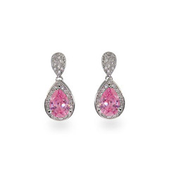Oprah's Sterling Silver Pink Peardrop CZ Earrings