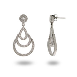 Gwen's Sterling Silver Triple Teardrop Earrings with Bezel CZ