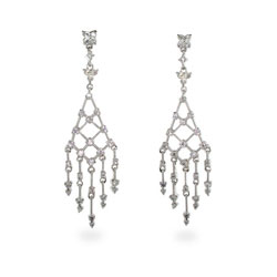 Sparkling Diamond CZ Drop Chandelier Earrings