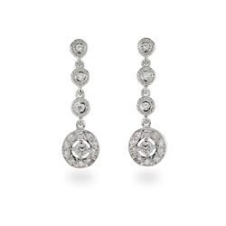 Dangle Cubic Zirconia Sparkling Sterling Silver Earrings