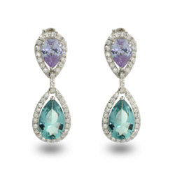 Lavender N Aqua Glamorous Teardrop Earrings