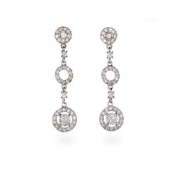 Julia's Delicate Antique Style Silver Circle Drop Earrings