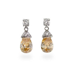 Sterling Silver Champagne CZ Fancy Pear Drop Earrings