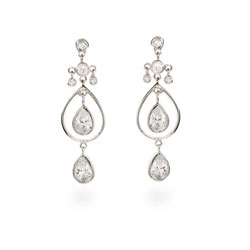 Alanna's Double Teardrop CZ Dangle Silver Earrings