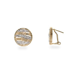 Designer Inspired Safari Gold CZ Round Earrings