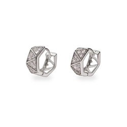 Geometric Style Sterling Silver CZ Huggy Earrings