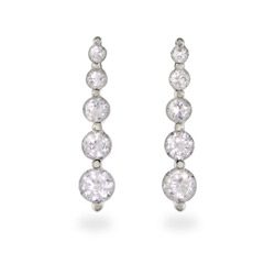 Round Brilliant Cut CZ Sterling Silver Journey Earrings