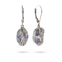 Designer Inspired Vintage Style Lavender CZ Earrings