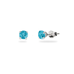 Sterling Silver 4 mm Blue Zircon CZ Stud Earrings