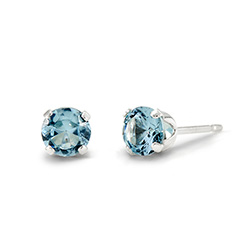 Sterling Silver 4 mm Aquamarine Cubic Zirconia Stud Earrings