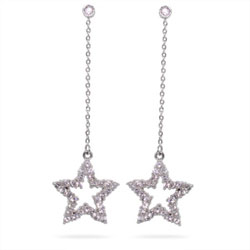 Tiffany Inspired Cubic Zirconia Star Drop Earrings