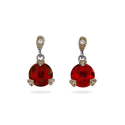 Designer Style Ruby CZ Vintage Cut Sterling Silver Earrings
