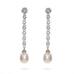Dangling CZ Bubbles Earrings with Freshwater Pearls