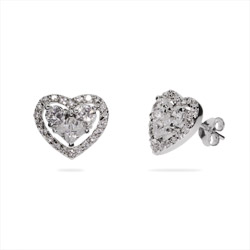 Trisha's Dazzling Double CZ Heart Stud Earrings