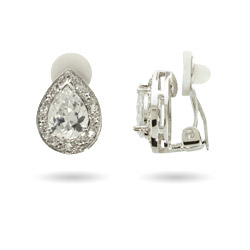 Aunt Cloe's CZ Pear Cut CZ Clip Earrings