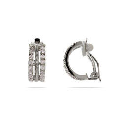 Triple Row CZ and Sterling Silver Clip-On Earrings