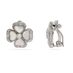 Addison's Mother of Pearl Flower Clip-On Earrings
