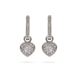 Channel Set Huggy Hoops with Sparkling CZ Heart