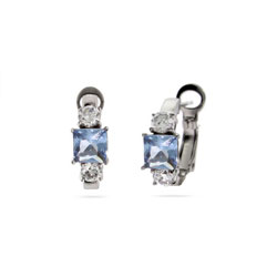 Sterling Silver Blue and White CZ Huggies