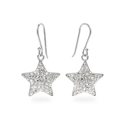Shimmering Brilliant CZ Sterling Silver Star Dangle Earrings
