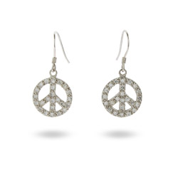 Sparkling CZ Sterling Silver Dangle Peace Sign Earrings