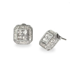 Mens Sterling Silver and CZ Studs