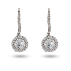 Natalias Brilliant Cut Diamond CZ Leverback Earrings